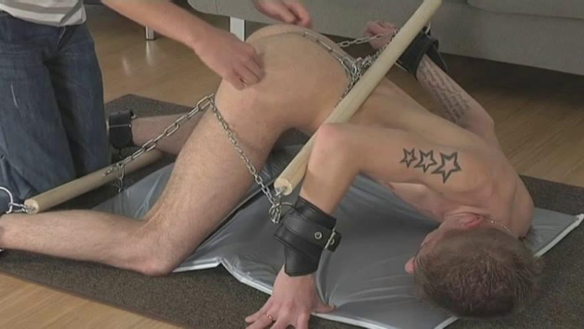 Tattooed pale gay gets every part of his body chained