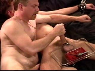 Dude in leg and feet restraints gets his blarney and balls smashed by his adroit