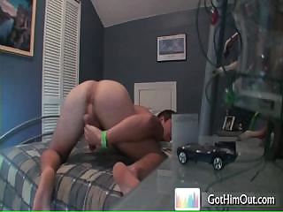 Lady's man busting his nuts on bed by gothimout