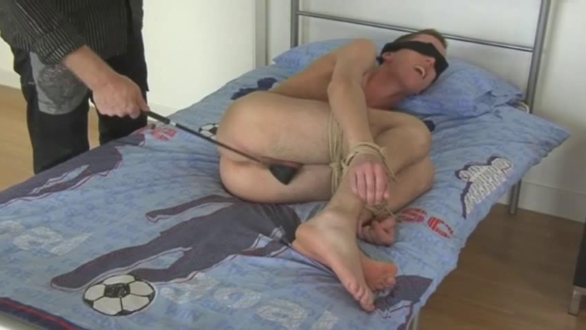 Blonde gay dude gets blindfolded and spanked with a horse whip