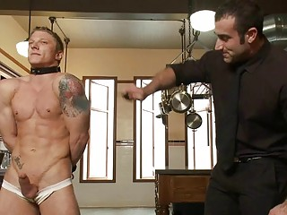 Tattooed muscled delighted stud gets tied and whipped
