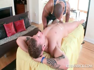 Interracial blowjob with sultry gays