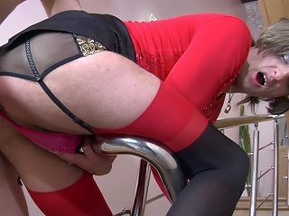 Lewd sissy in contrast top nylons going for anal and oral fun on the...