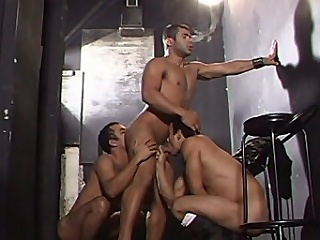 This gay group bang starts connected with a handful of buffed hotties in one room...