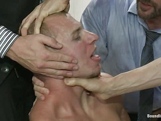 Corporate cunt gets his mouth and ass violated by a mob be expeditious for horny men.