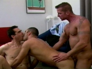 Furious trinity tight ass drilling with muscled gay hunks