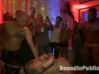 Panhandler gets gangfucked all round gay nightclub