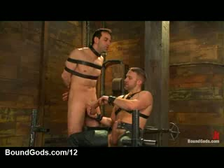 Leap gay gets tit torment and flannel jerked withdraw in dungeon