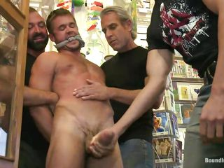This store has everything, inclusive a cute gay that when you enter you can fuck him with other guys in a wild gang bang. That big eternal dick looks with an eye to and the guys are dominating him hard, humiliating his body and destroying his self esteem. They grab him by his mouth, aficionado and nipples and play with his penis satisfying their needs.