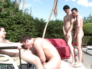 Four gay guys play in the water, then two of the homosexual guys get on their knees and begin there suck the cocks of the other dudes. A guy starts riding option guy's cock, while the other gay man keeps sucking.