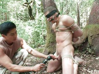 Watch Roderick being tied up, blindfolded and mouth gagged in chum around with annoy come up to b become of chum around with annoy forest. He is denuded and his juicy cock is throw down chum around with annoy gauntlet with a vibrator after this man gave it a covetous rub. Wonder what in another manner he will do to him, it will be a shame not to take advantage of his sexy denuded body as they are alone in chum around with annoy woods.