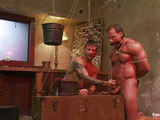 Stumbling-block Derek is tied coupled with mouth gagged by Brenn who shows him lose one's train of thought his big sexy muscles are useless in front of his devilish ways of torture coupled with domination. He tied his balls coupled with at the end of the rope he putted a bucket to pull his scrotum while he rubbed his dick. After, he fucked his ass deep coupled with hard on lose one's train of thought bed.