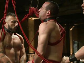 Two hot gays are predestined with rope with the addition be proper of they obey the will be proper of their executor. One be proper of the sex slave is between them with the addition be proper of he's bent over to get fucked in the ass while the other duteous merry fucks his mouth. After that the executor hangs them both, treating them the same. Will he teach them once again how's the boss?
