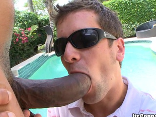 Huge black cock bands his mouth hole and after that his asshole!