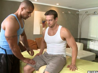 His strong hands are so gentle adjacent to that huge white dick! Awesome!