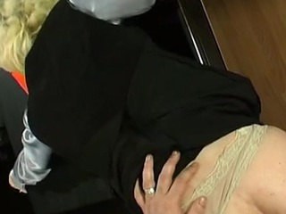 Kickass sissy guy getting pounded up his hairbreadth poop chute right in office