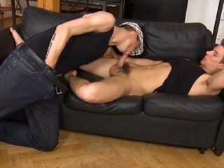 Pretty desirable chap is engulfing gay stud's schlong hungrily