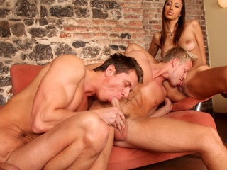 Four sexy guys and a sexy gal enjoying a worthwhile bisexual lose one's heart to !