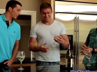 Muscled jocks threeway have sexual intercourse in kitchen