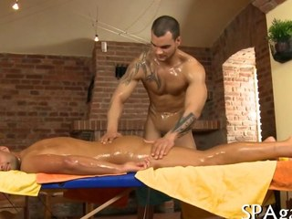An anal sex massage with muscly dudes
