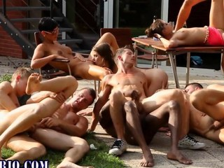 Bi slut gets spitroasted in this all out orgy