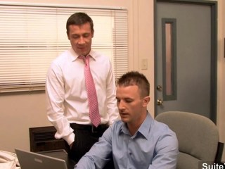 Gorgeous gay gets ass banged in rub-down the office segment